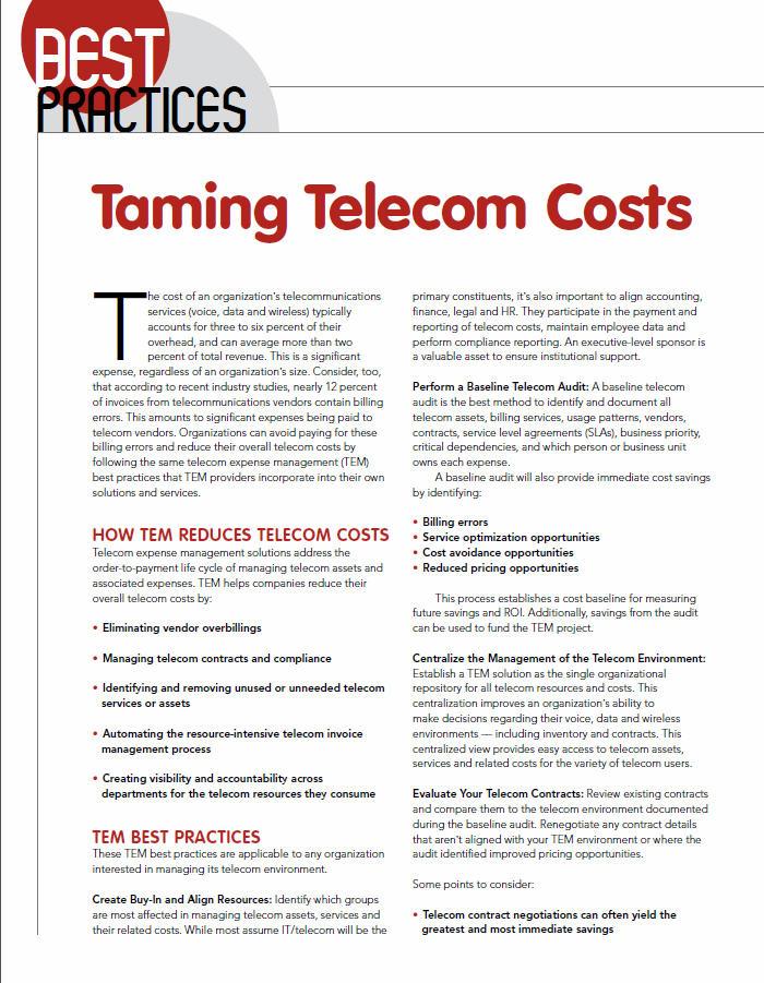 taming telecom costs