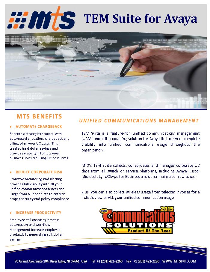 MTS Call Accounting for Avaya Solution